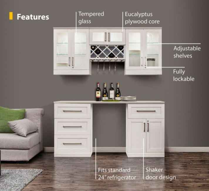 6 piece shaker style home bar 1