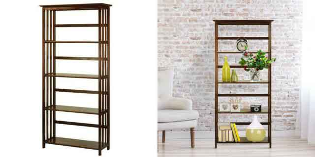 Casual home mission style 5-tier bookcase 2