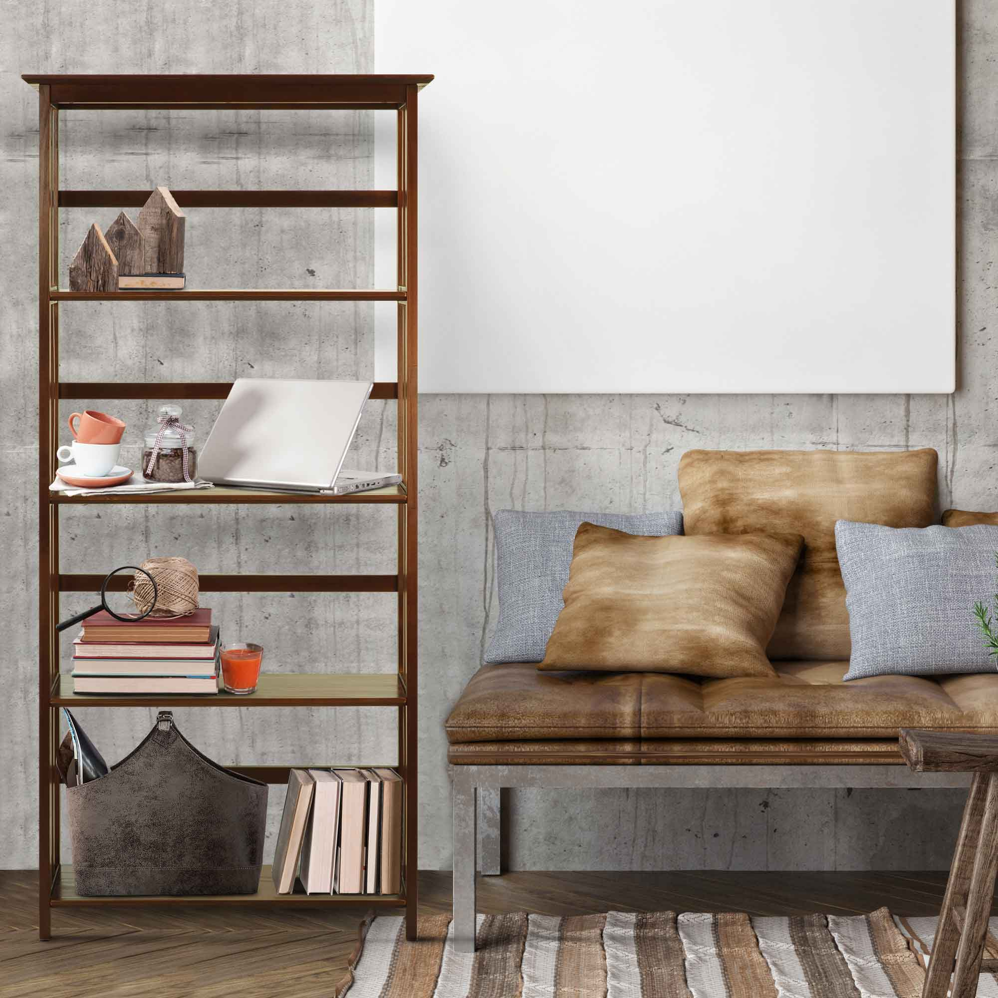 Casual home mission style 5-tier bookcase 5